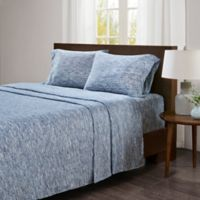 Urban Habitat Space-Dyed Cotton Jersey Knit Twin Sheet Set in Blue