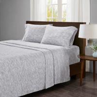 Urban Habitat Space-Dyed Cotton Jersey Knit Full Sheet Set in Grey