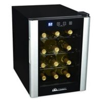 Avalon Bay 12-Bottle Single Zone Wine Cooler in Black/Silver