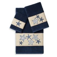 Linum Home Textiles LYDIA Embellished Bath Towels in Midnight Blue (Set of 3)