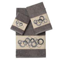 Linum Home Textiles ANNABELLE Embellished Bath Towels in Dark Grey (Set of 3)