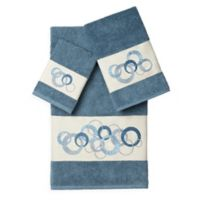 Linum Home Textiles ANNABELLE Embellished Bath Towels in Teal (Set of 3)