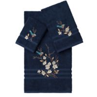 Linum Home Textiles SPRING TIME Embellished Bath Towels in Midnight Blue (Set of 3)