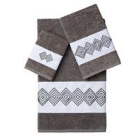 Linum Home Textiles NOAH Embellished Bath Towels in Dark Grey (Set of 3)