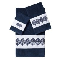 Linum Home Textiles NOAH Embellished Bath Towels in Midnight Blue (Set of 3)