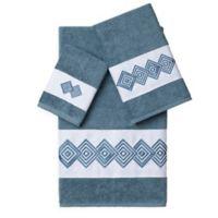 Linum Home Textiles NOAH Embellished Bath Towels in Teal (Set of 3)