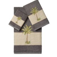 Linum Home Textiles COLTON Embellished Bath Towels in Dark Grey (Set of 3)