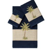 Linum Home Textiles COLTON Embellished Bath Towels in Midnight Blue (Set of 3)