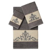 Linum Home Textiles SCARLET Embellished Bath Towels in Dark Grey (Set of 3)
