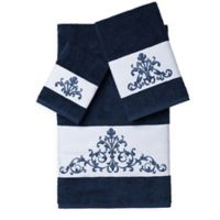Linum Home Textiles SCARLET Embellished Bath Towels in Midnight Blue (Set of 3)