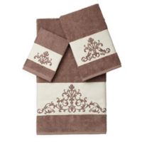 Linum Home Textiles SCARLET Embellished Bath Towels in Latte (Set of 3)