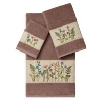Linum Home Textiles SERENITY Embellished Bath Towels in Latte (Set of 3)