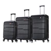 DUKAP® Rodez 3-Piece Hardside Spinner Luggage Set in Black