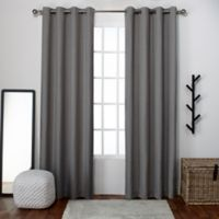 Loha 108-Inch Grommet Top Window Curtain Panel Pair in Black