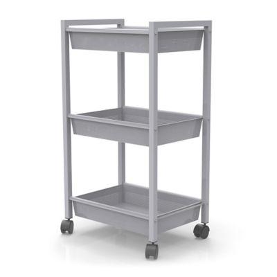 Studio 3B™ 3 Tier Metal Rolling Storage Cart In Grey