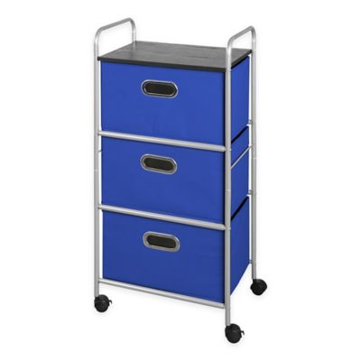 Bintopia 3 Drawer Storage Cart With Top In Blue