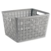 Starplast Large Plastic Wicker Storage Basket in Grey