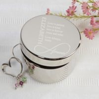 Couple's Infinity Engraved Keepsake Box in Silver