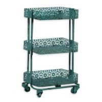 Linon Home Pierced Metal 3-Tier Cart in Turquoise