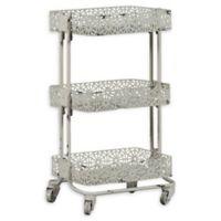 Linon Home Pierced Metal 3-Tier Cart in Cream