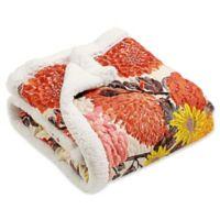 Lush Décor Agnes Sherpa Throw Blanket in Tangerine