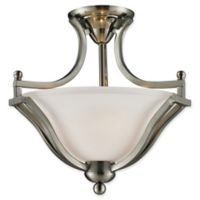 Filament Design Laisha 2-Light Ceiling Fixture in Brushed Nickel with Matte Opal Glass Shades
