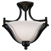 Filament Design Laisha 2-Light Ceiling Fixture in Bronze with Matte Opal Glass Shades