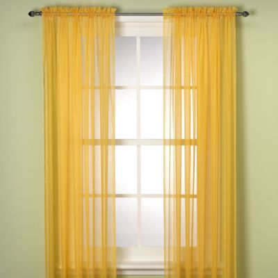 Elegance Sheer 84 Inch Window Curtain Panel In Mimosa