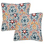 Brescia Square Throw Pillows in Blue (Set of 2)