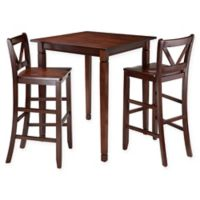Windsome Trading Kingsgate 3-Piece Bar Height Dining Set with V-Back Stools