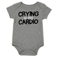 "Baby Starters® Size 3M ""Crying Is My Cardio"" Bodysuit in Grey"