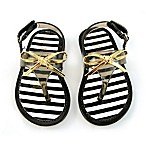Rising Star™ Bow Size 6 Jelly Thong Sandal in Gold/Black