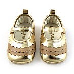 Rising Star™ Size 0-3M Layered Scallop Mary Jane Shoe in Gold
