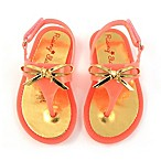 Rising Star™ Bow Size 9-12M Jelly Thong Sandal in Coral