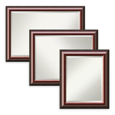 Amanti Art Cambridge Large Bathroom Mirror In Mahogany