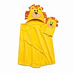 Lion Hooded Bath Wrap with Mitt in Yellow