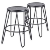 LumiSource Avery Counter Stool Set in Vintage Black (Set of 2)