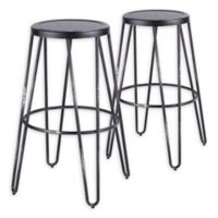 LumiSource Avery Bar Stool Set in Vintage Black (Set of 2)