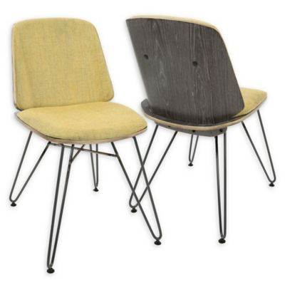 LumiSource Avery Dining/Accent Chair Set In Yellow (Set Of 2)