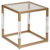 Uma Iron and Glass Side Table in Gold