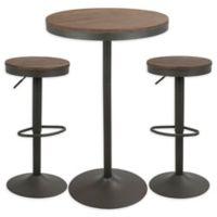 LumiSource Dakota 3-Piece Pub/Dining Set in Grey/Brown
