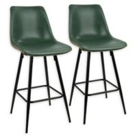 Lumisource™ Durango Faux Leather Upholstered Barstools in Green (Set of 2)