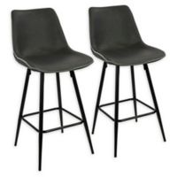 Lumisource™ Durango Faux Leather Upholstered Barstools in Grey (Set of 2)