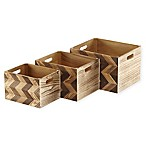Wood Storage Crates with Chevron Pattern (Set of 3)