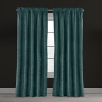 Velvet Plush Nest 108-Inch Rod Pocket/Back Tab Lined Window Curtain Panel in Aegean