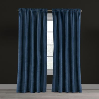 Velvet Plush Nest 63-Inch Rod Pocket/Back Tab Lined Window Curtain Panel in  Navy