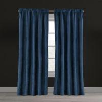 Velvet Plush Nest 63-Inch Rod Pocket/Back Tab Lined Window Curtain Panel in Navy