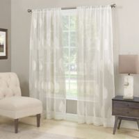 Stafford Semi-Sheer 84-Inch Rod Pocket Window Curtain Panel in Winter White