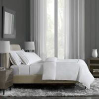 Flatiron® Hotel Satin Stitch Full/Queen Duvet Cover in White/Indigo