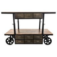 Yosemite Home Décor Alynthi Mango & Iron Cart in Brown/Grey